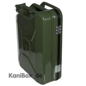 Koffer aus einem Benzinkanister in grün