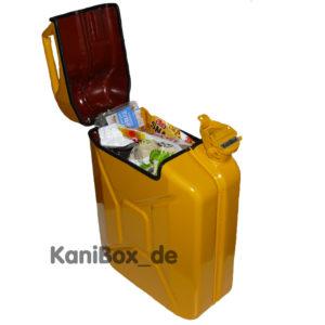 gelbe Müll-Tonne Benzinkanister Mülleimer