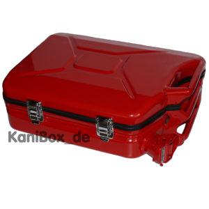 feuerroter Benzinkanister Koffer
