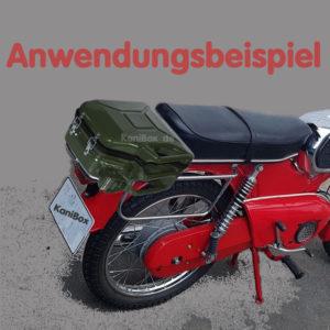 Benzinkanister als Topcase für Moped