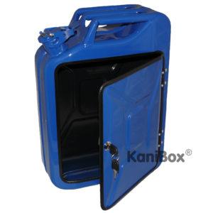 blauer Benzinkanister als do it yourself DIY Projekt