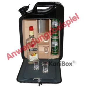 schwarze Kanister-Bar mit MiniBar Tisch