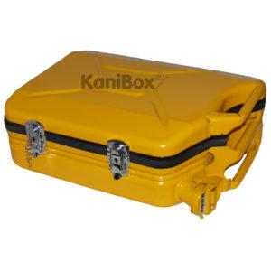 gelber Kanister Koffer mit Schloss