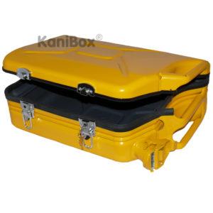 abschliessbarer Kanister Koffer in gelb