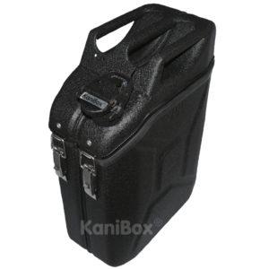 schwarze Transportbox Benzinkanister
