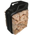 schwarzer Retro Holzkorb für Kaminholz