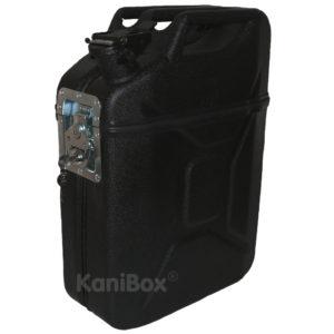 schwarze Transportbox mit Zusatzfach im Deckel