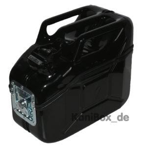 Werkzeugbox aus einem schwarzen Benzinkanister