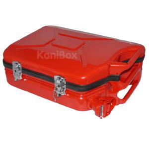 roter Kanisterkoffer abschliessbar und spritzwassergeschützt