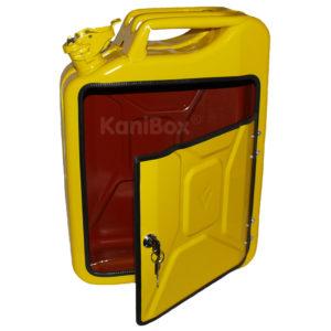 gelber Briefkasten aus einem Benzinkanister