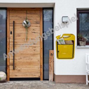 ausgefallener Briefkasten in Gelb