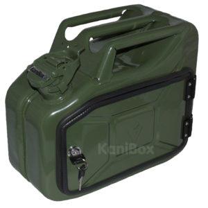 Benzinkanister Seitenkoffer in oliv grün