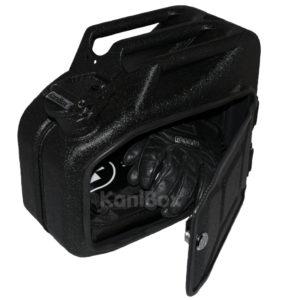 schwarzer Retro Seitenkoffer Benzinkanister