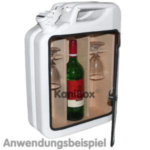 WeinBar in einem weissen Benzinkanister