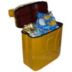 gelbe Mülltonne Benzinkanister Mülleimer