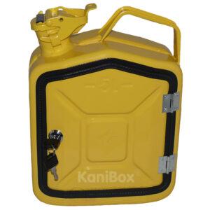 gelber 5 Liter Benzinkanister zum abschliessen