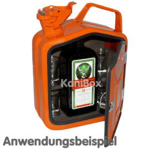 Kanister für Jägermeister Flasche in orange